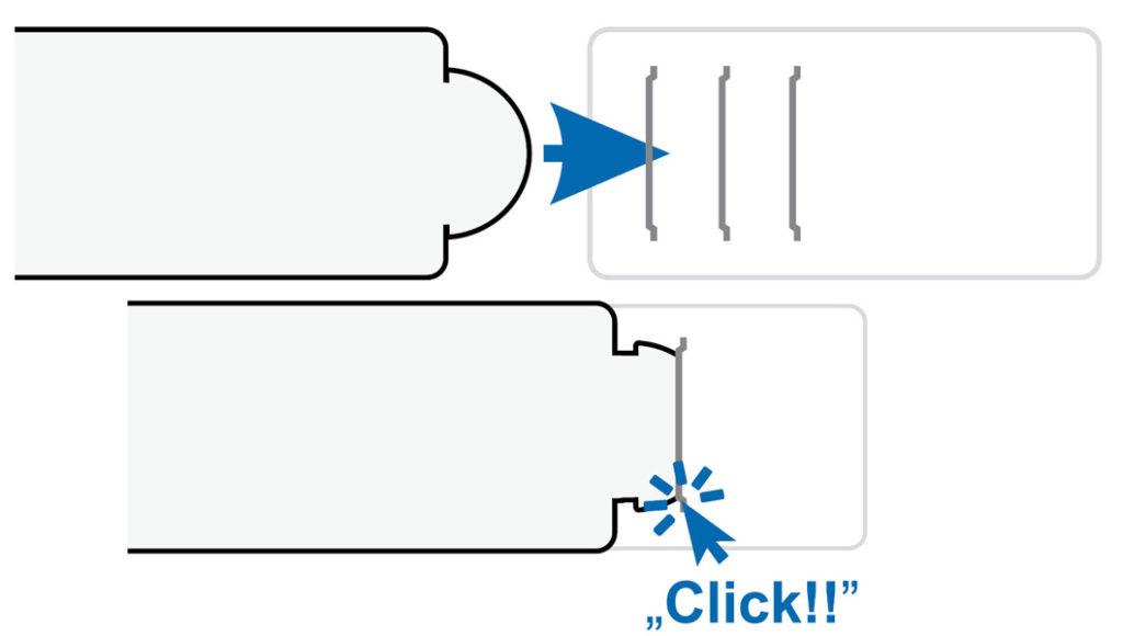 Zapięcia biretów Click zapobiegają przypadkowym rozpięciom, nawet podczas ruchliwych zabaw