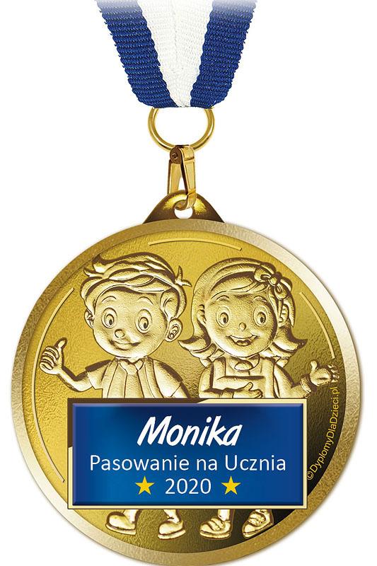 Medal Med-202 z nadrukowanym imieniem dziecka oraz rokiem pasowania