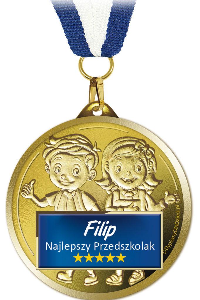 Medal Najlepszy Przedszkolak Med-207 z nadrukowanym imieniem dziecka