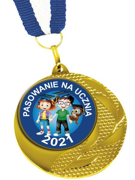 Medal Pasowanie na Ucznia Med-01 z nadrukowanym rokiem pasowania