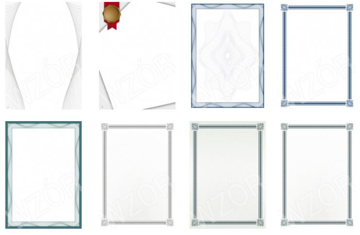 Arkusze barwne - popularne wzory do produkcji certyfikatów